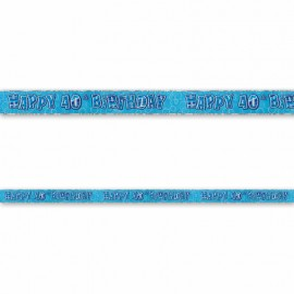 Cartel Happy Birthday 40 Años Azul Glitz