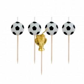 6 Velas de Fútbol con Copa