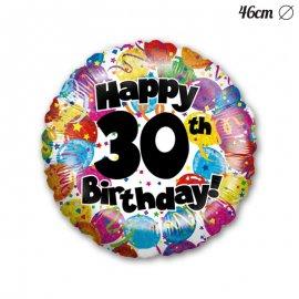 Globo Happy Birthday 30 Foil M03 Redondo 46 cm