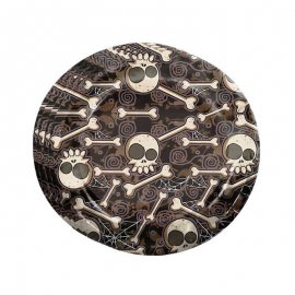 8 Pratos Caveira Halloween 23 cm