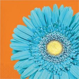 16 Servilletas Naranjas con Flor Azul 33 cm