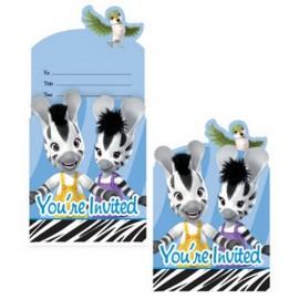 8 Convites Zebras Infantiles