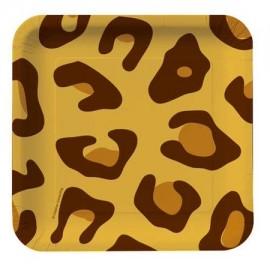 8 Pratos Leopardo 18 cm