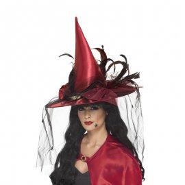 Sombrero de Plumas y Tul Rojo