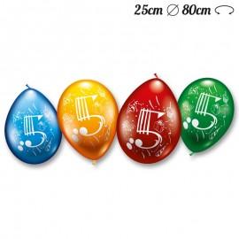 Globos Número 5 Redondos M02 25 cm
