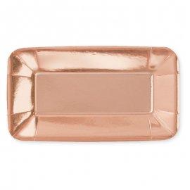 8 Bandejas Rosa Gold 23 cm
