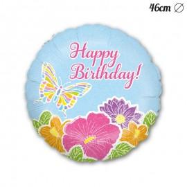 Globo Happy Birthday Flores Mariposa Foil Redondo 46 cm