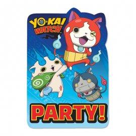 8 Invitaciones Yo Kai Watch