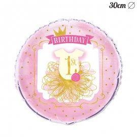 Balão Primeiro Ano Menina 30 cm