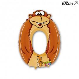 Balão Número 0 Gorila Foil 102 cm