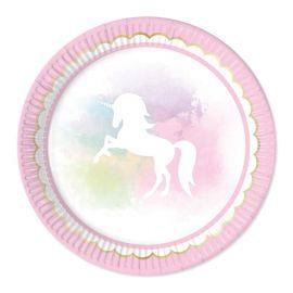 8 Pratos Unicornio Rosa 23 cm