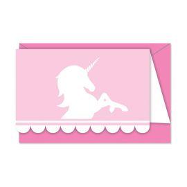 6 Convites Unicornio Rosa