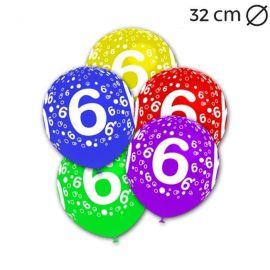 Globos Número 6 Redondos 32 cm