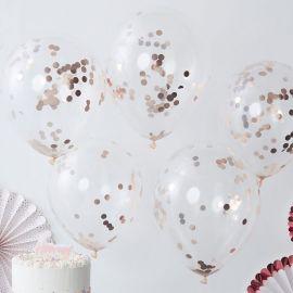 5 Balãos com Confete Rosa Gold 30 cm