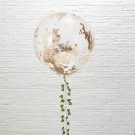 3 Balões de Confete Rosa Gold Gigante 90 cm