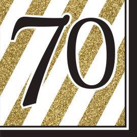 16 Guardanapos 70 Negro y Ouro