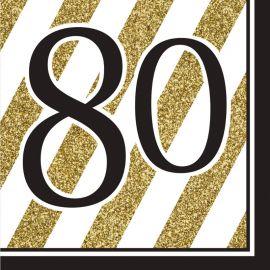 16 Guardanapos 80 Negro y Ouro