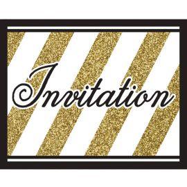 8 Invitaciones Negro y Oro