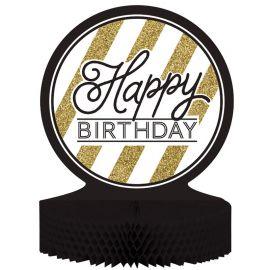 Centro de Mesa Happy Birthday Negro y Ouro