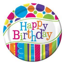 8 Platos Happy Birthday Rayas y Puntos 18 cm