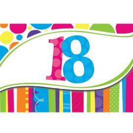 8 Invitaciones 18 Rayas y Puntos