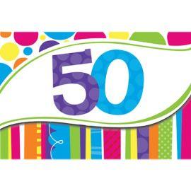 8 Invitaciones 50 Rayas y Puntos