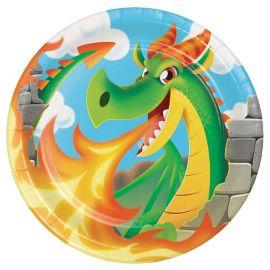 8 Pratos Dragons 23 cm