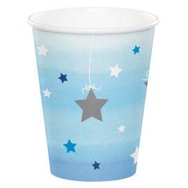 8 Copos Um Ano Menino Little Star 266 ml