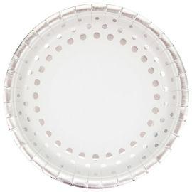 8 Pratos Sparkle Silver 23 cm