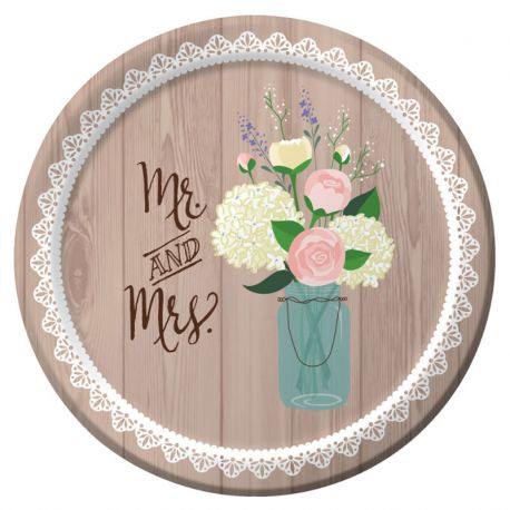 8 Platos Rustic Wedding 18 cm