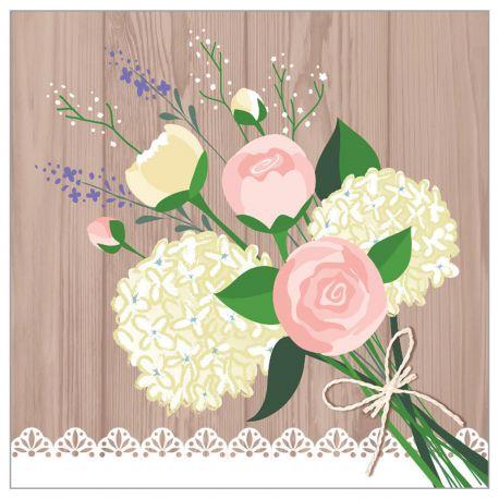 16 Servilletas Rustic Wedding 25 cm