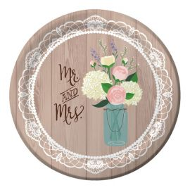 8 Pratos Rustic Wedding 26 cm