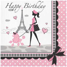 18 Servilletas Paris Happy Birhtday 33 cm