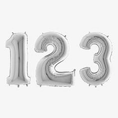 Balões Números Prateados